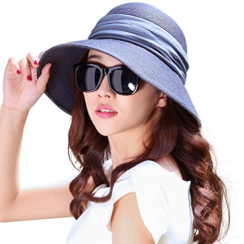 - Siggi Womens Foldable Straw Cloche Panama Floppy Summer Beach Sun Hat Wide Brim Blue One Size 69055_blue