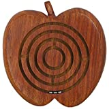ShalinIndia Handcrafted Apple Wooden Ball in Maze Puzzle - Unique Puzzle Maze Games for Kids - Travel Toys for Children