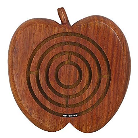Handcrafted Apple Wooden Ball in Maze Puzzle - Unique Games for Kids - Travel Toys for Children - Magnetic Tiling Toy