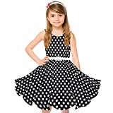 HBB Girl's Classy Audrey 1950s Vintage Rockabilly Swing Party Sleeveless Dress with Belt (Girl's 9/10, Black Dot)
