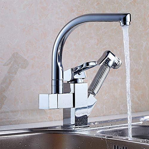 キッチンタップ、温水と冷水タップ、蛇口多機能キッチン高温耐性低温耐久性のある耐食性プル蛇口