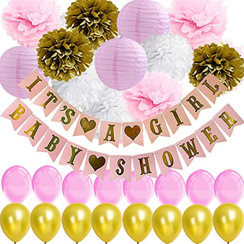 Baby Shower Decorations for Girl-It's a Girl Baby Shower Banner with Flower Pom Poms Paper Lanterns Balloons for Pink and Gold Party Princess Baby Shower Royal Style Baby Shower Girl's First Birthday ()