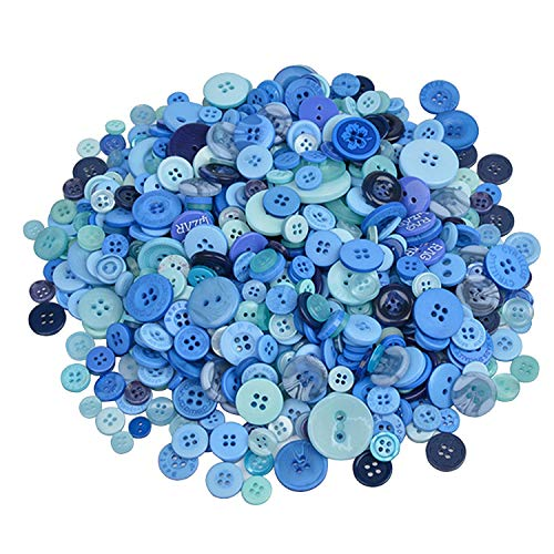 koboome 600 Pcs Assorted Sizes Resin Buttons 2 and 4 Holes Round Craft Buttons Fit Sewing, Scrapbooking, Kids DIY Handmade Decorations (Blue)