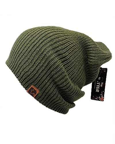 Womens Olive Beanie - The Hatter Trendy Warm Soft Stretch Long Beanie (Olive)