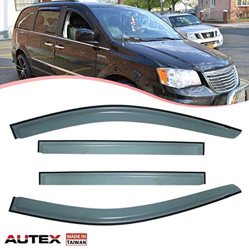 AUTEX 4Pcs Original Window Visor Deflector Fit for 08-17 Dodge Grand Caravan Vent Visor Sun Shade 94251 (NOTE: It is NOT In-Channel Window - Sun Caravan Shade