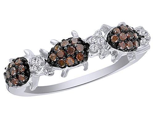 (Wishrocks Red & White Diamond Three Ladybug Ring in 14K White Gold Over Sterling Silver (1/4)