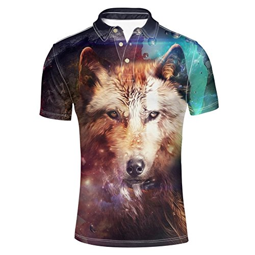 HUGS IDEA Men's Classic Jersey Golf Polo Shirt Summmer Fashion Hipster Short Sleeve Collar 3 Button Up T-Shirts Clothing (Wolf Pattern)