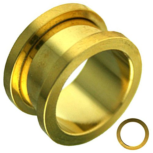 Screw On Anodized Surgical Steel Yellow Gold Ear Tunnel / Ear Plugs By Pair GA3G (12g = (Agate Ear Plugs)