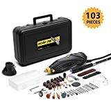 DETLEV PRO Rotary Tool Kit with 103 Accessories, 7 Variable Speed with Flexible Shaft for Cutting Sanding and Polishing, RTM4132-10E