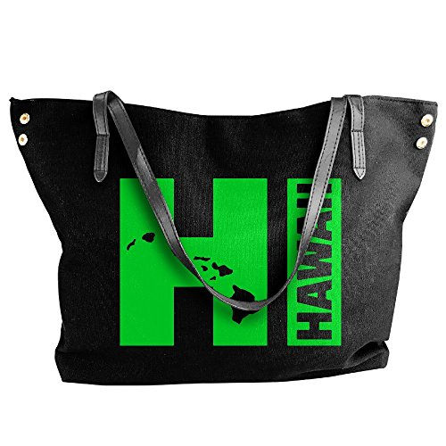 Canvas Handbag Hawaii Tote Messenger Large Islands Black Bags HI Shoulder Women's dwxqnfCRAd
