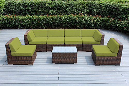 Ohana 7-Piece Outdoor Patio Furniture Sectional Conversation Set, Mixed Brown Wicker with Peridot Cushions - No Assembly with Free Patio Cover