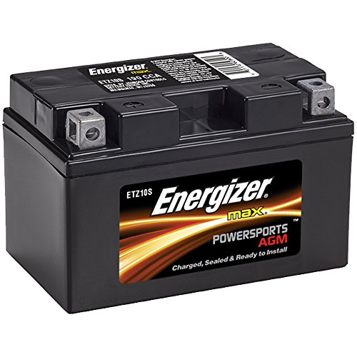 Energizer ETZ10S AGM Motorcycle and ATV 12V Battery, 190 Cold Cranking Amps and 8.6 Ahr.  Replaces: YTZ10S and others