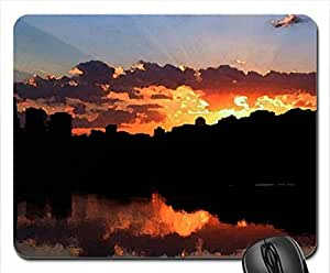Dark Cityscape Mouse Pad, Mousepad (Skyscrapers Mouse Pad, 10.2 x 8.3 x 0.12 inches)