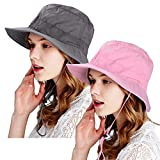 ZOORON Women Outdoor Bucket Hat Fishing String Foldable Cap UPF 50+ UV Protection (2pack-Pink&Gray)