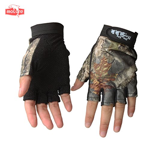 Molure 5 Cut Finger Fishing Hunting Gloves Anti-slip Breathable Camo Orange (Camo)