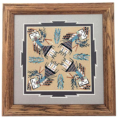 Palms Trading Co Authentic Navajo Handmade Sand Paintings by Various Artists (Medium Square, Whirling Female Yei) ()