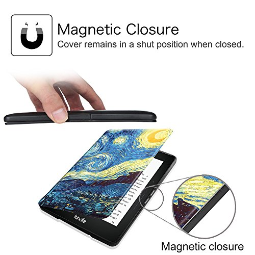 Fintie Case for Kindle Voyage - [The Thinnest and Lightest] Protective PU Leather Slim Shell Cover with Auto Sleep / Wake for Amazon Kindle Voyage (2014), Starry Night by Fintie (Image #3)