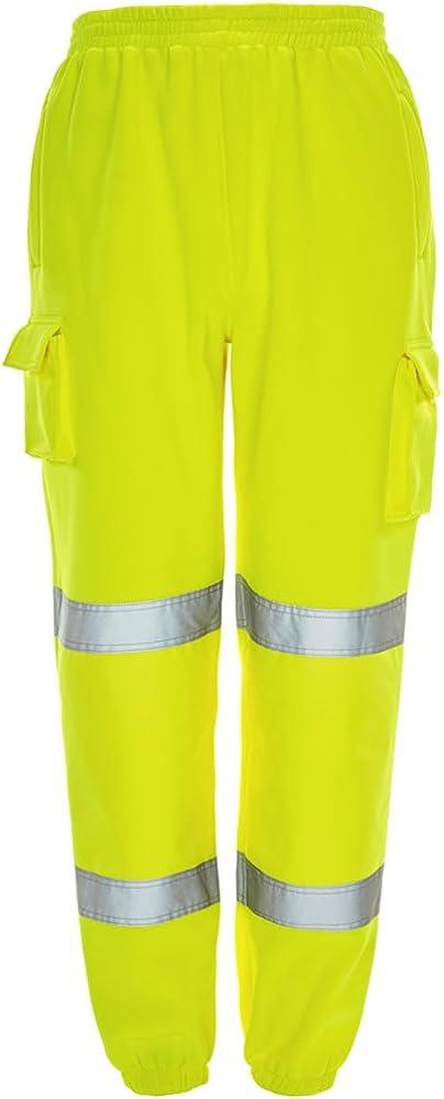 Alta Viz Visibilità HI VIS Lavoro Pantaloni in Pile Pantaloni sportivi di sicurezza per Jogging Pantaloni