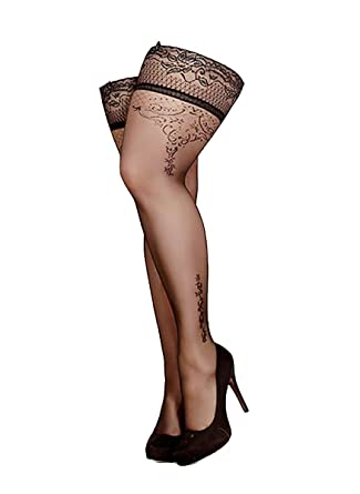 ab3370a25d7 Elegant Plus Size Black Sheer Side Floral Swirls Print Lace Top Hold Ups   Amazon.co.uk  Clothing