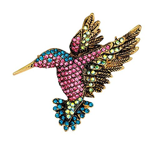 W WOOGGE Hummingbird Animal Brooch Vintage Gold Multi Color Austrian Crystal Rhinestone Pin Brooch for Women
