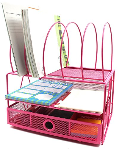EasyPAG Mesh Desk Organizer with 5 File Sorter Sections Double Letter Tray and Drawer (Stacking Supply Drawer)