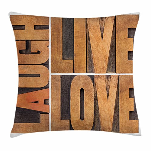 Ambesonne Live Laugh Love Decor Throw Pillow Cushion Cover, Macro Calligraphy Life Message Inspirational Digital Graphic, Decorative Square Accent Pillow Case, 20 X 20 Inches, Light Caramel Umber by Ambesonne