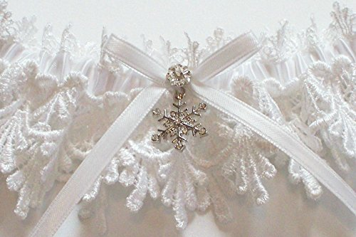 Wedding Garter with Snowflake and Lace Toss, White Lace Garter with White Bow - The Petite ALICIA Garter