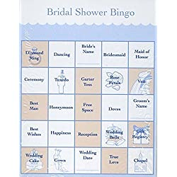 Victoria Lynn Bridal Shower Party Games - Bingo Cards for 48 Guests - 2 Pack - Easy to Play - Fun for Everyone,Blue and Peach