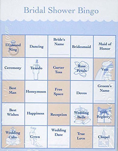 Wedding Bingo Games Shower (Victoria Lynn Bridal Shower Party Games - Bingo Cards for 48 Guests - 2 Pack - Easy to Play - Fun for Everyone,Blue and Peach)