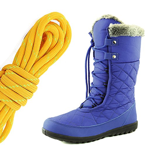 DailyShoes Womens Comfort Round Toe Mid Calf Flat Ankle High Eskimo Winter Fur Snow Boots, Tangerine Lime Royal Blue