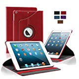 KHOMO Apple iPad Air Case - Red 360 Degree Rotating Stand Case Cover With Built-in magnet for sleep / wake feature For iPad Air Tablet