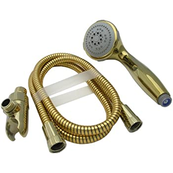 LASCO 08 5175 Serenity Hand Held Five Function Shower Head, Polished Brass  Finish
