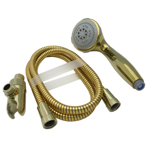 LASCO 08-5175 Serenity Hand Held Five Function Shower Head, Polished Brass Finish