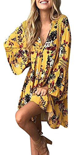 YOMISOY Women Print Floral Lace Hollow Deep V Neck Flare Sleeve Mini Summer Outfits Dress