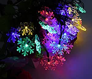 Solar String Lights, KEEDA 30LED 16ft Snowflake Lights With 8 Modes for Christmas Wedding Party Indoors Outdoors Decoration (Multicolor)
