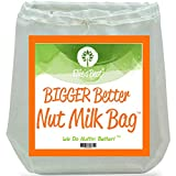 "Pro Quality Nut Milk Bag - Big 12""X12"" Commercial Grade - Reusable Almond Milk Bag & All Purpose Food Strainer - Fine Mesh Nylon Cheesecloth & Cold Brew Coffee Filter - Free Recipes & Videos (1)"