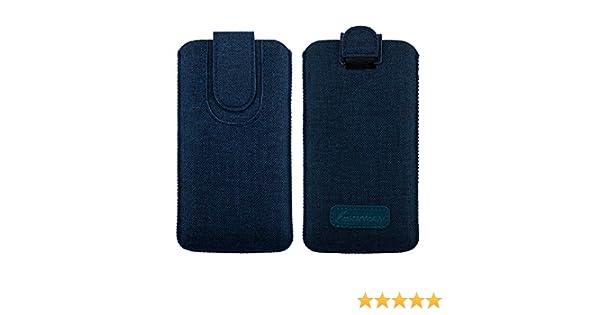 Emartbuy Oscuro Azul Premium Textured Tejido De La Diapositiva En La Funda De La Bolsa Caso Titular De La Cubierta (Size LM4) Compatible con Smartphones Enumerados Abajo: Amazon.es: Electrónica