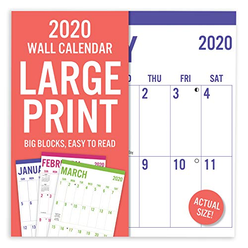 "Avalon 2020 Large Print Wall Calendar, Easy to Read, 12"" x 12"""