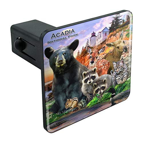 Graphics and More Acadia National Park Maine ME Animals Bear Racoon Deer Moose Tow Trailer Hitch Cover Plug Insert 1 1/4 inch - Acadia Park Me National