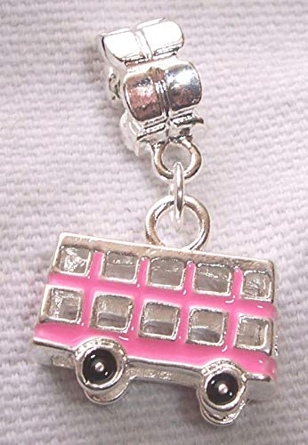 Bus Double Decker Pink Enamel Trolley Tour 3D Dangle Charm for European Bracelet Jewelry Making Supply by Wholesale Charms