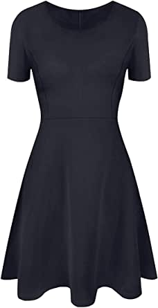 Jusfitsu Womens Long Sleeve Casual Slim Fit Dress A-Line Simple Dress Medium Length Skirt