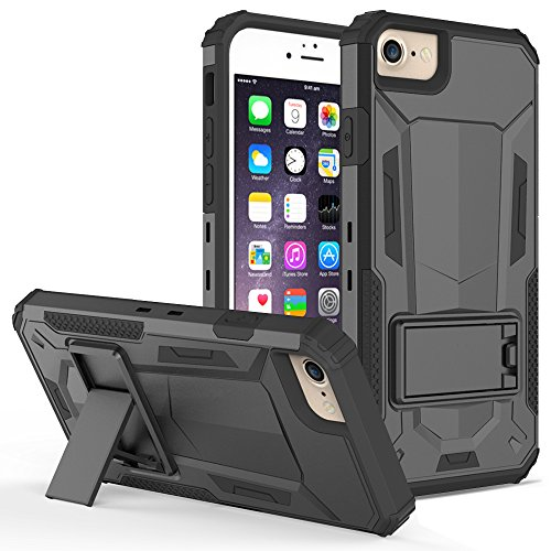iPhone 8 Case / iPhone 7 Case - ZV [Hybrid Dual Layered] with [Built in Kickstand] Slim and Shockproof [UV Coated] Metallic PC