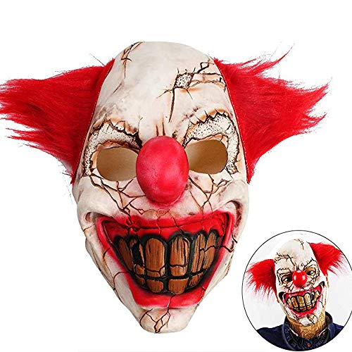 KONKY Halloween Creepy Mask Costume Party Latex Scary Clown Mask Horrific Demon Adult Scary Joker Mask Devil Flame Zombie Mask (Horror -
