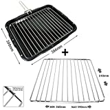 SPARES2GO Grill Pan with Handle & Rack Insert for Frigidaire Oven Cookers (386mm x 300mm) + 'Nut Locking' Extendable Shelf