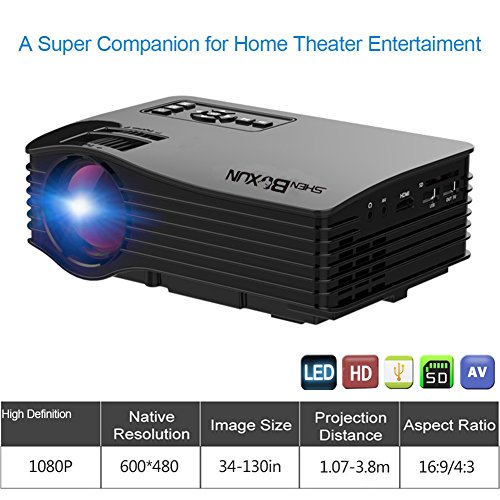 Shenboxun 2017 Projector (Warranty Included), Mini LCD LED Multimedia Portable Video Projector For Home Cinema Theater Support HD 1080P With HDMI USB SD AV Ports