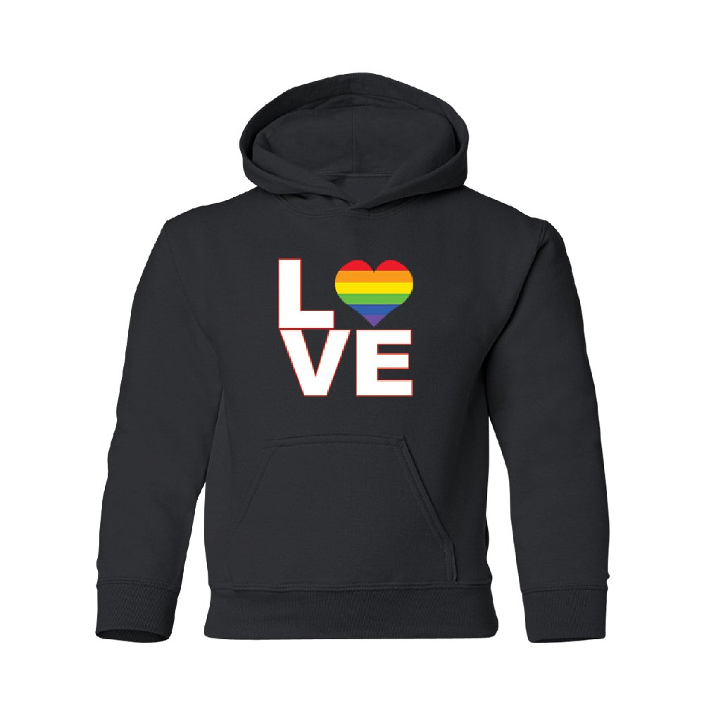 LGBT Colorful Love Symbol Youth Hoodie Rainbow Heart Pride Flag Sweatshirt Black Youth Small