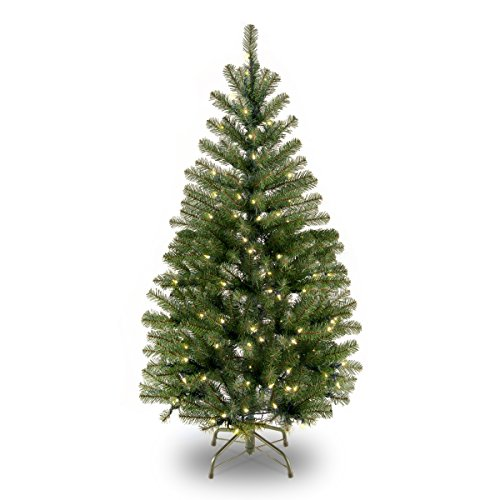Lit Crystal Artificial Christmas Tree - National Tree 4 Foot Aspen Spruce Tree with 100 Clear Lights (AP7-300-40)