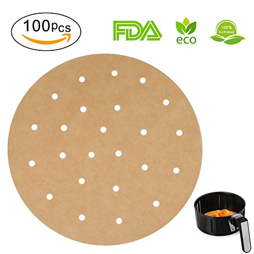 100pcs Unbleached Air Fryer Liners, 9inch Bamboo Steamer Liners, Vancens Premium Perforated Parchment Steaming Paper Rounds, Non-stick Steamer Mat, Perfect for 5.3 & 5.8 QT Air (Bamboo Steamer Cleaning)