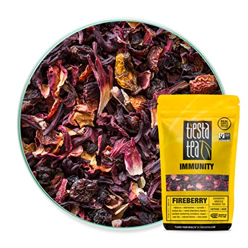 Tiesta Tea   Fireberry, Loose Leaf Cranberry Hibiscus Rooibos Tea   All Natural, Caffeine Free, Hibiscus Tea, Immune Boosting   1.7oz Resealable Pouch - 30 Cups   Hibiscus Rooibos Tea