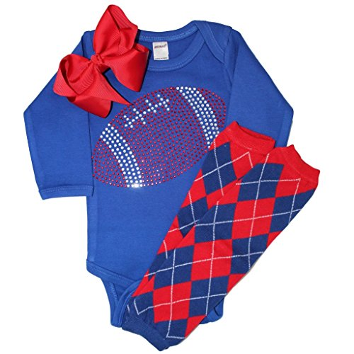 Baby girl's Blue & Red Team Colored Rhinestone Red Football on a Blue Outfit 6-12mo